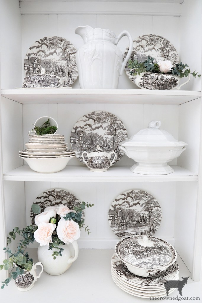 Brown and White Transferware in French Country Hutch-The Crowned Goat