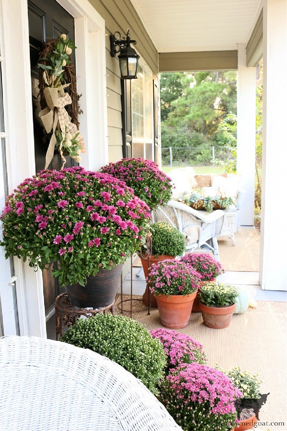Finding Fall Inspiration: Decorating the Front Porch with Mums-The Crowned Goat