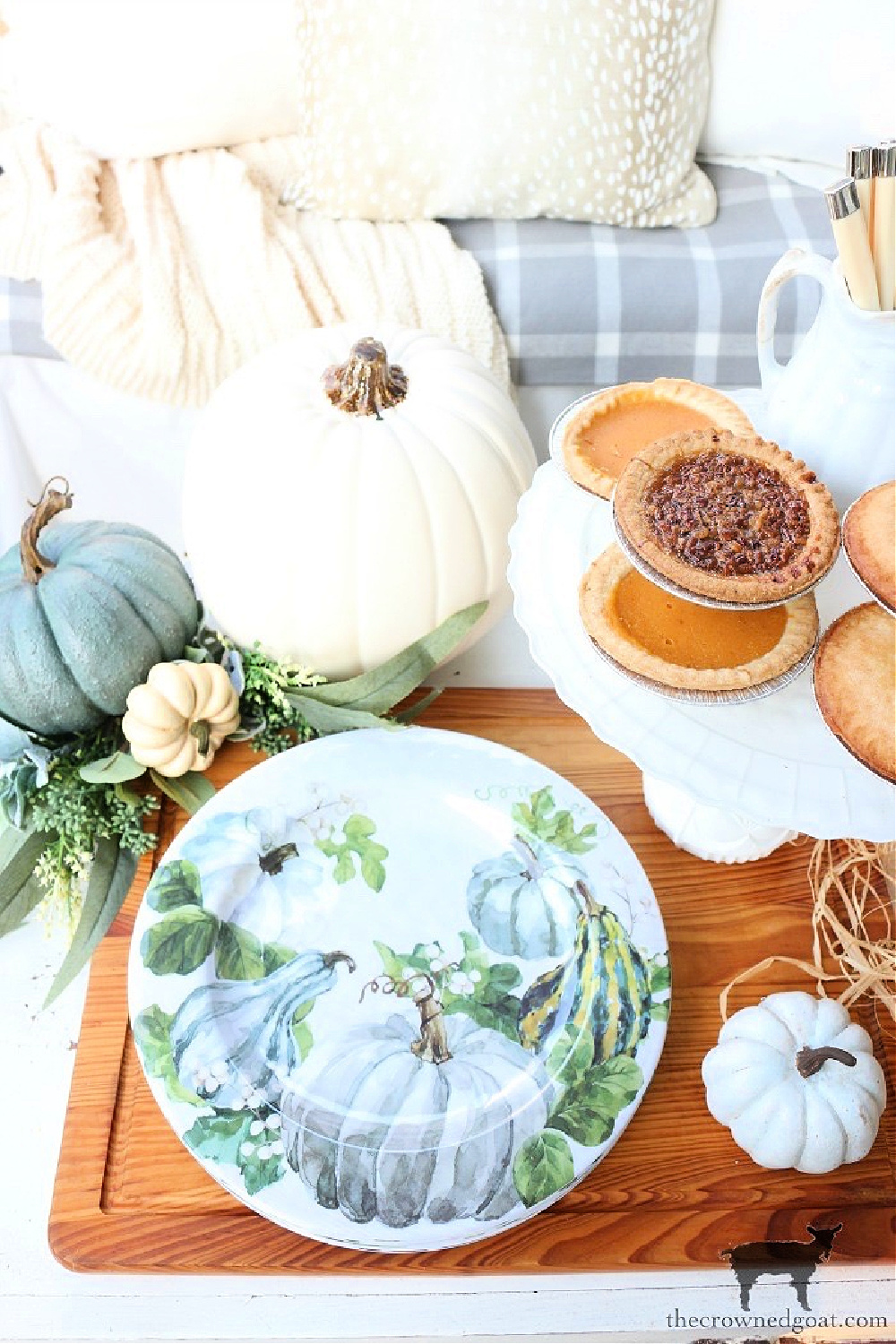 Serving Fall Pies on the Front Porch-The Crowned Goat