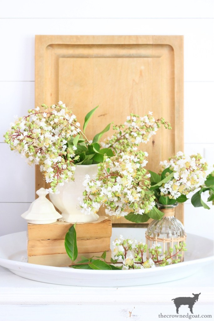 Crepe Myrtles and Ironstone an Easy Late Summer Floral Arrangement-The Crowned Goat