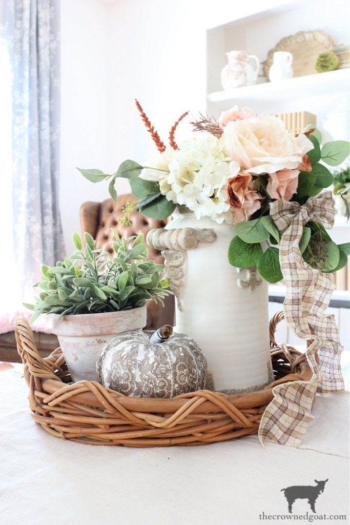 Fall Vignette with DIY Brown and White Transferware Pumpkin-The Crowned Goat