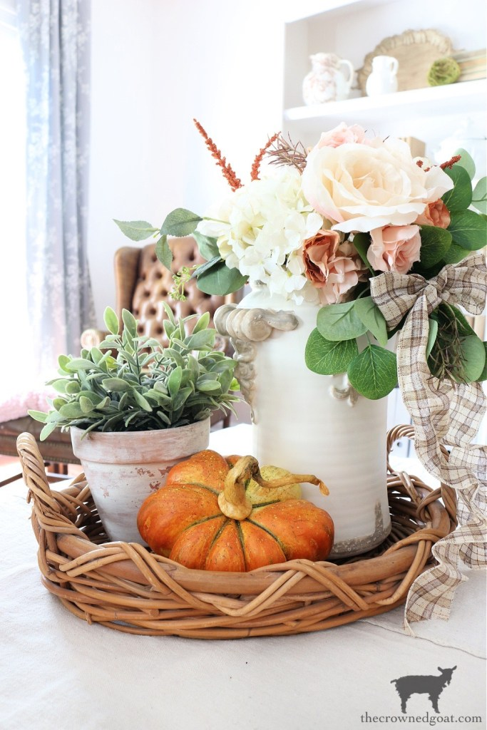 Fall Vignette with Harvest Pumpkin-The Crowned Goat
