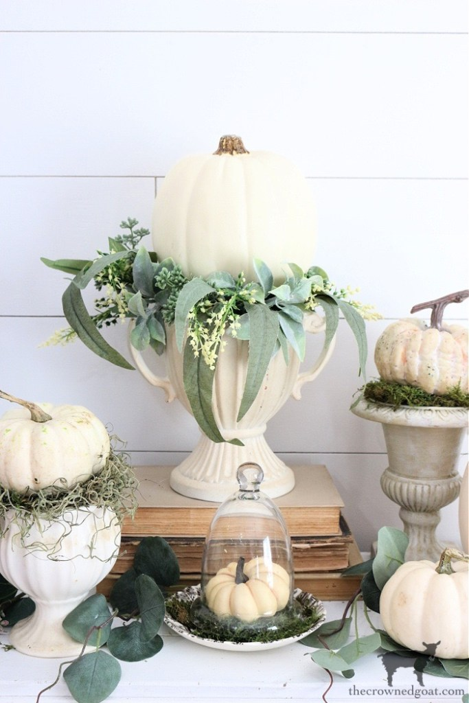 Five Minute Fall Vignette Ideas with White Pumpkins: The Crowned Goat