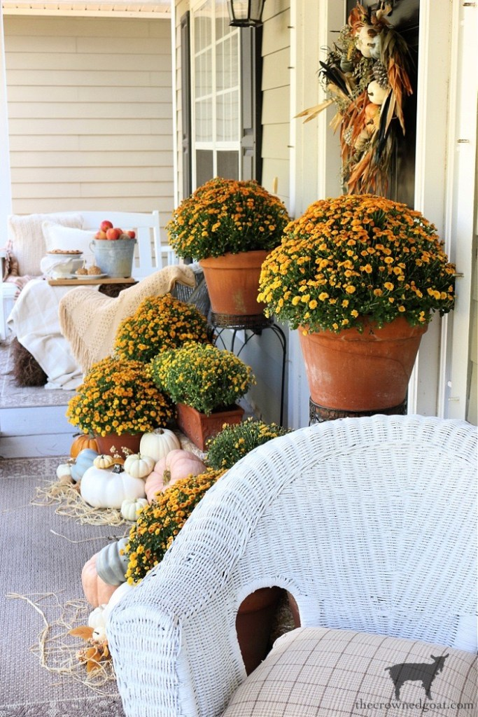 Fall Front Porch Tour with Orange and Yellow Mums-The Crowned Goat