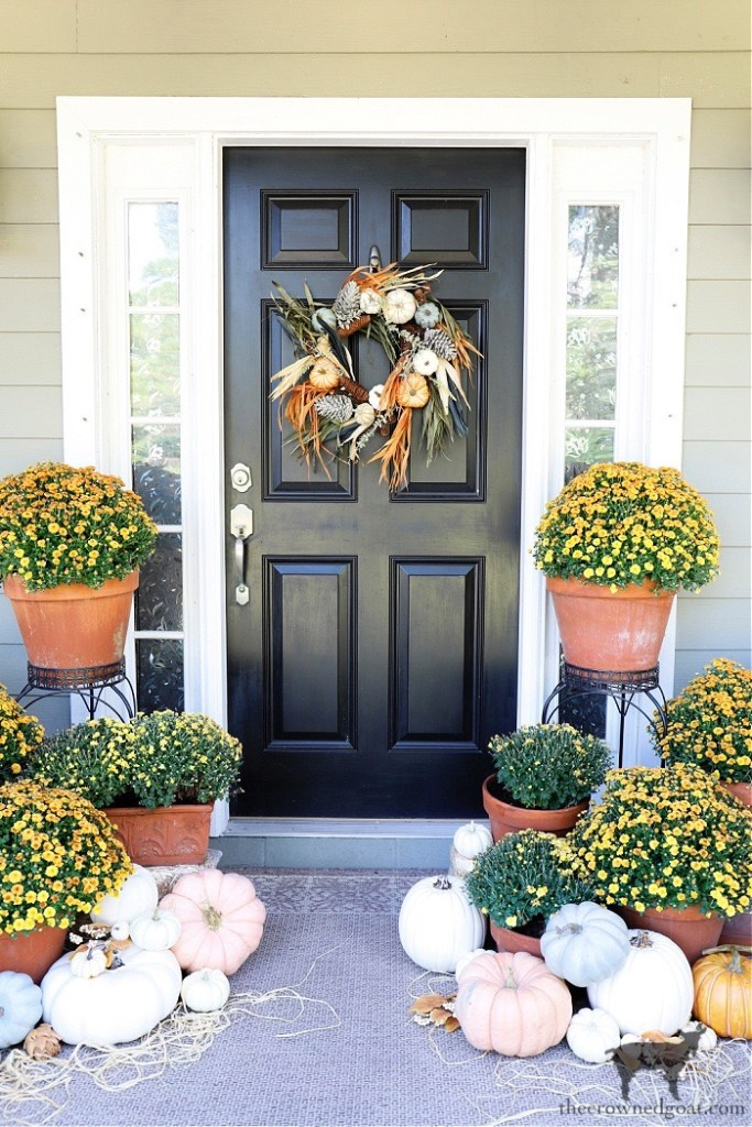 Fall Porch Tour-Orange Mums and Pumpkins-The Crowned Goat