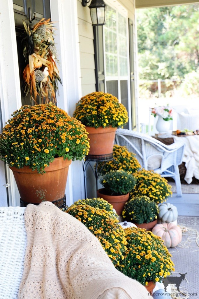 Fall Porch Tour with Orange Mums-The Crowned Goat