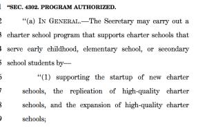 Pre-school charter start-ups aren't considered a new federal program?