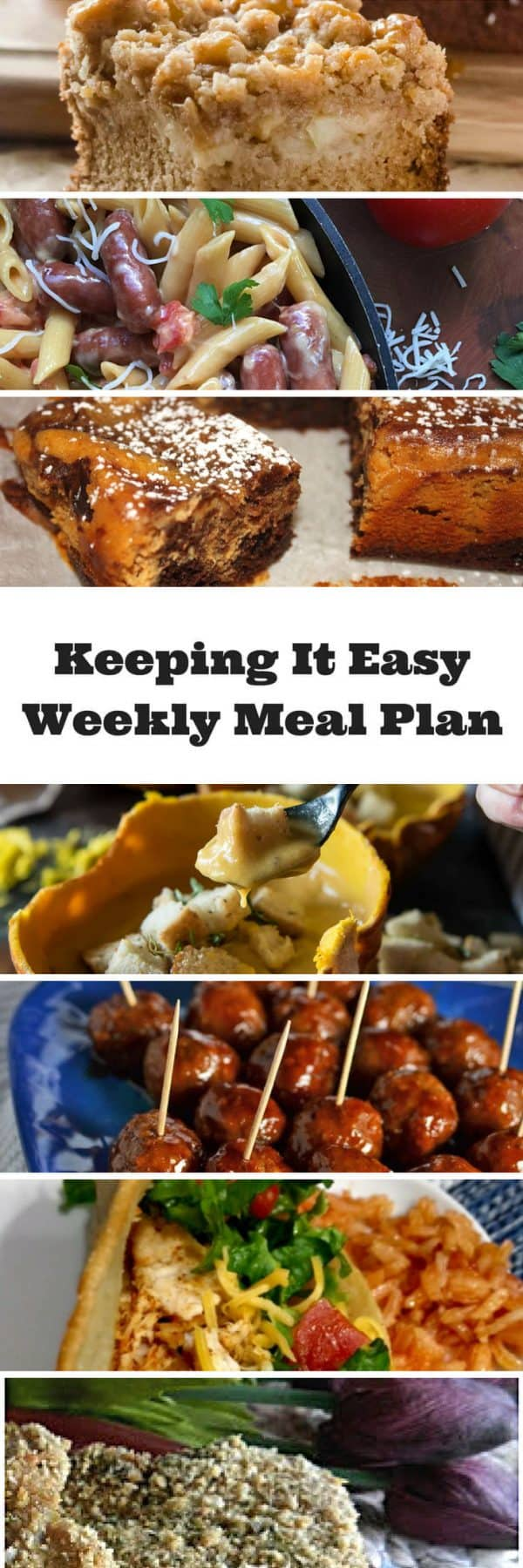 Easy Weekly Meal Plan #40 from My Fearless Kitchen. This week's meal plan includes Apple Butterscotch Crumb Cake, Pumpkin Beer Cheese Soup, Slow Cooker Honey-BBQ Meatballs, One Pot Cheesy Smoked Sausage Pasta, Quick Weeknight Chicken Tacos, Parmesan Crusted Pork Chops, and Pumpkin Chocolate Brownies.