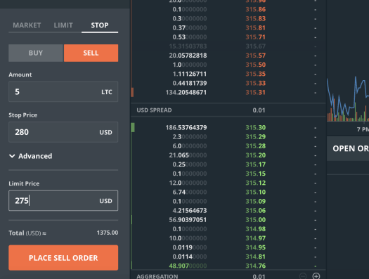 GDAX Stop Order Example