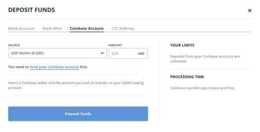 GDAX Deposit from Coinbase menu