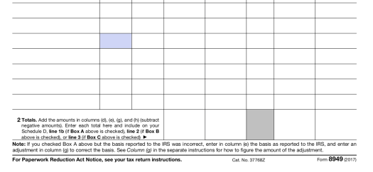 IRS form 8949 Net Totals