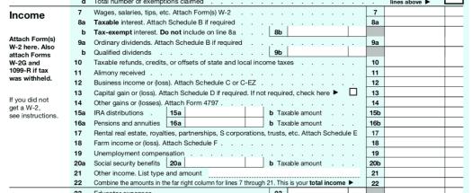 IRS 1040 Page 1 Image
