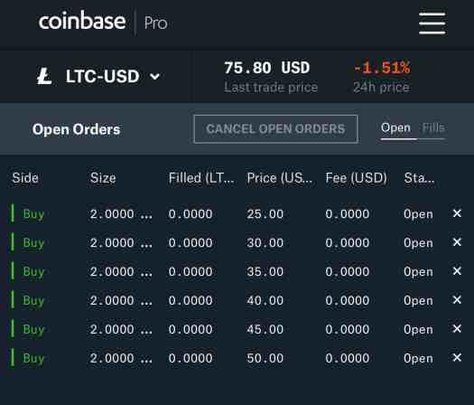 Coinbase Pro sample litecoin orders