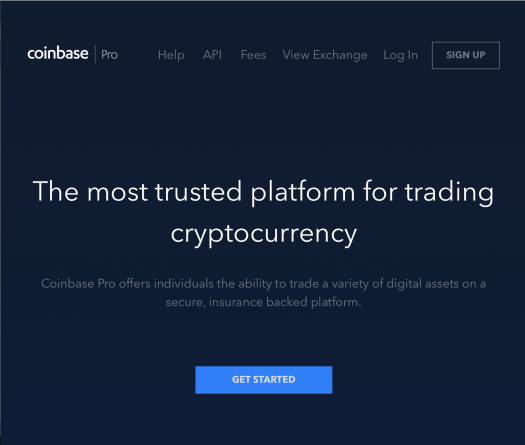 Coinbase Pro login page
