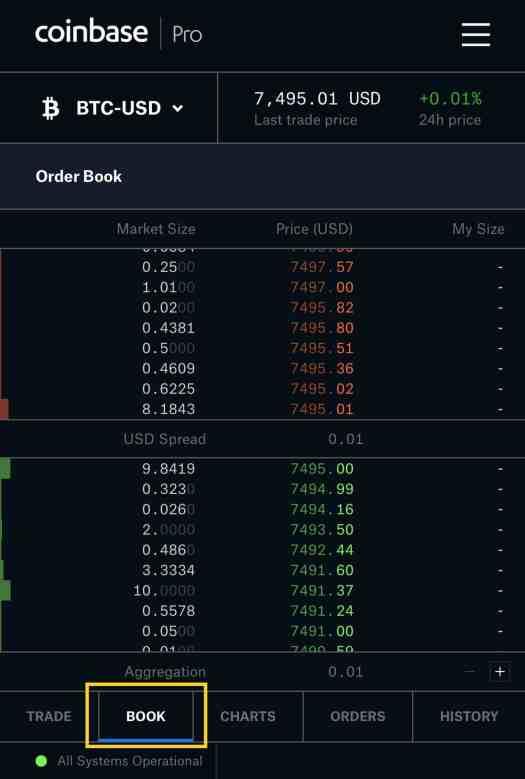 coinbase pro mobile order book
