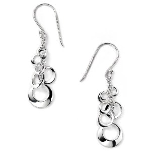 Sterling Silver Open Disc Cluster Drop Earrings