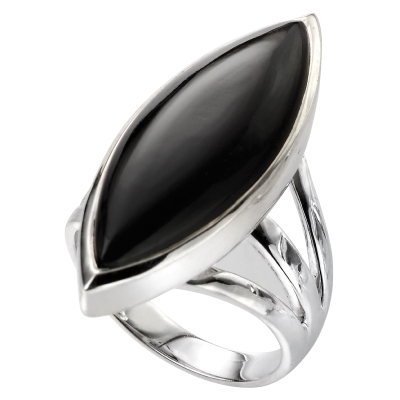 sterling silver marquise black onyx ring