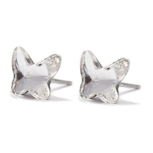 sterling silver swarovski crystal clear butterfly stud earrings