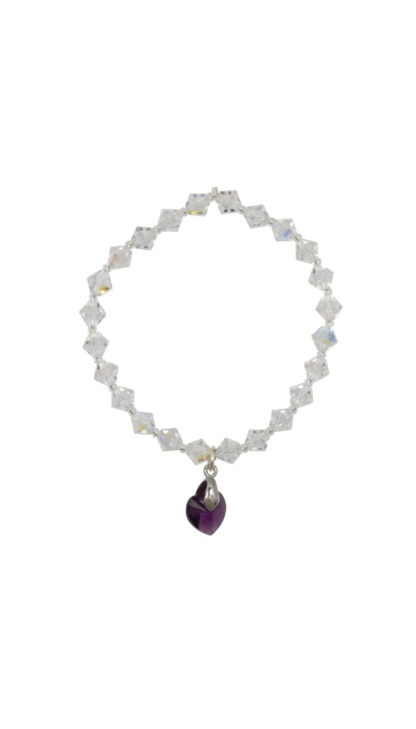 swarovski crystal ab bicone and 10mm amethyst heart charm bracelet