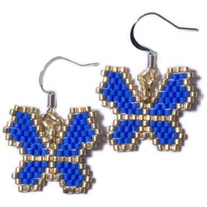 Miyuki Delica Blue and Gold Butterfly Silver Beaded Earrings