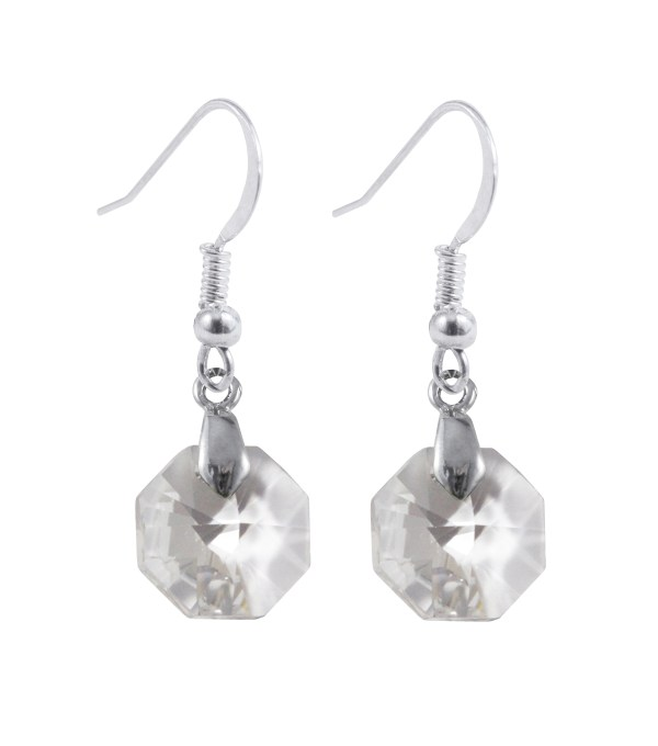 swarovski crystal clear octagon sterling silver earrings
