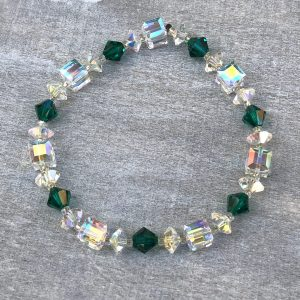 crystal ab cube and emerald green swarovski bracelet