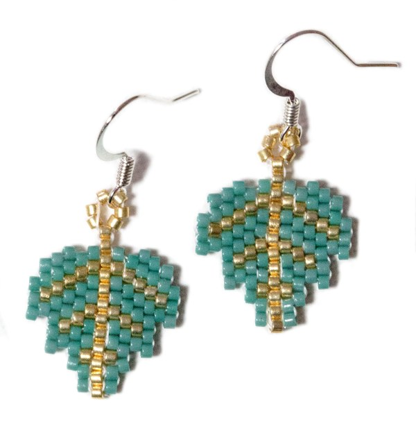 miyuki delica gold and green leaf beaded earrings