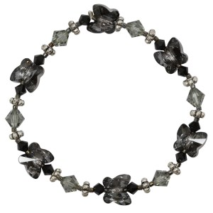 swarovski crystal silver night shades of grey black butterfly bracelet