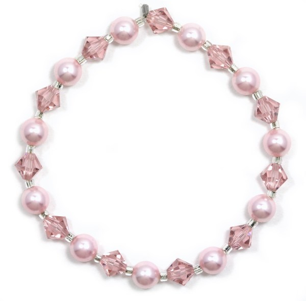 swarovski light pink crystal pearl and vintage rose pink crystal bracelet