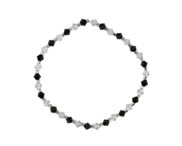 Swarovski crystal clear and jet black 4mm bicone bracelet