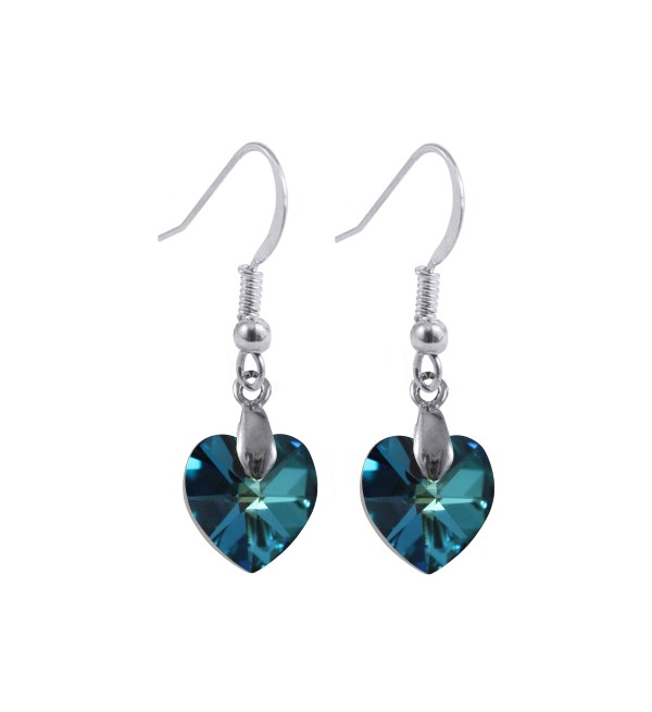swarovski crystal sterling silver Bermuda blue heart dangle earrings