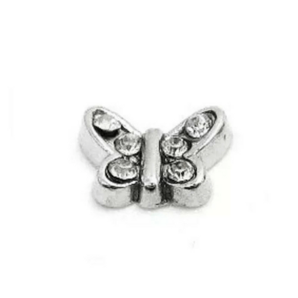 clear diamanté butterfly memory locket charm