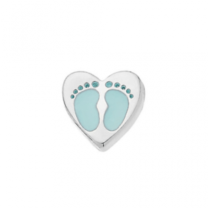 blue baby feet heart memory locket charm