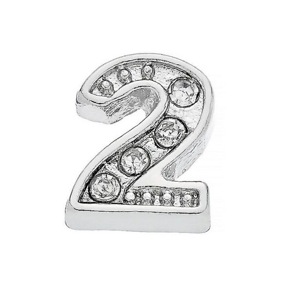 Diamante number 2 memory locket charm