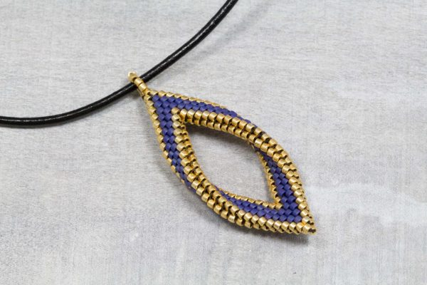 matte-navy-and-gold-folded-peyote-leaf-pendant-with-leahter-cord