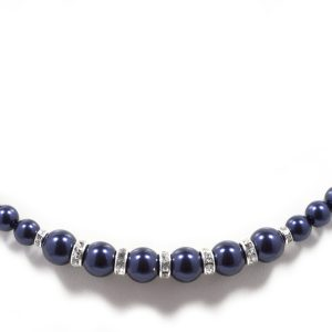 Swarovski Crystal Night Blue Pearl Sparkle Silver Necklace