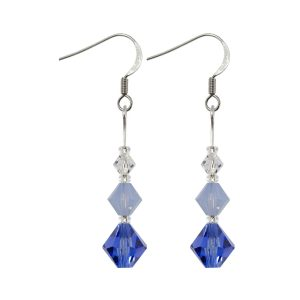 swarovski crystal handmade blue shades graduated xillion earrings