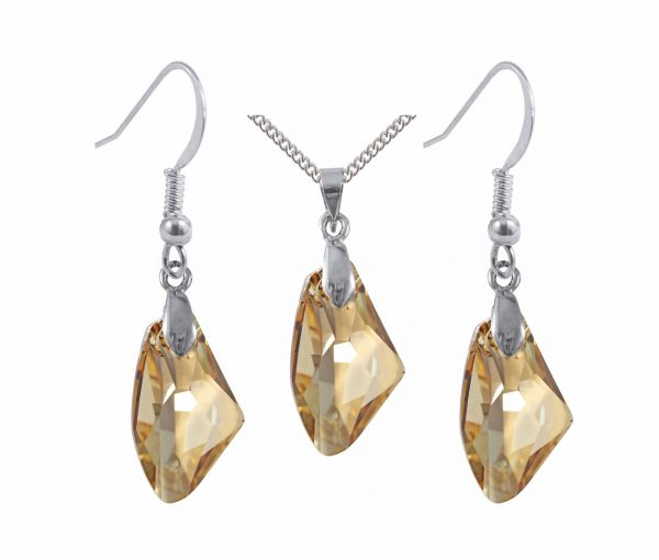 swarovski crystal golden shadow galactic sterling silver pendant and earrings set
