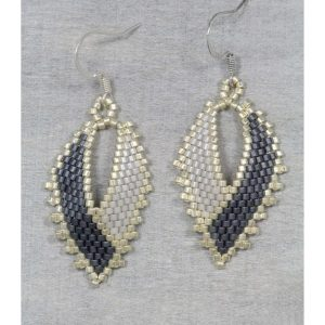 silver and blue miyuki russian leaf beaded earrings