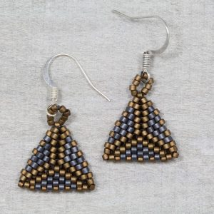 matt navy and bronze small miyuki hand beaded earrings