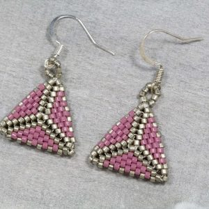 mauve purple and pewter miyuki triangle beaded earrings