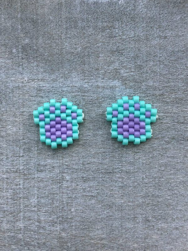 green and purple pastel miyuki paw print stud earrings