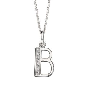 sterling silver initial b Art Deco cubic zirconia pendant