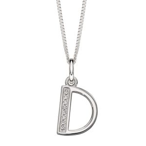 sterling silver Art Deco initial d cubic zirconia pendant