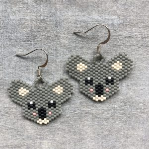 sterling silver koala miyuki beaded earrings