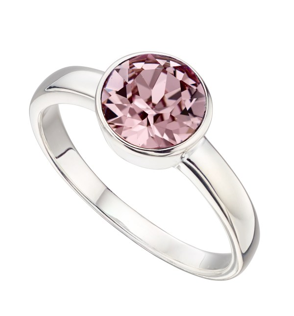 sterling silver pink swarovski crystal June birthstone ring