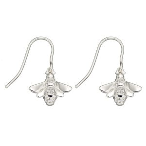 sterling silver pave cubic zirconia bee dangle earrings