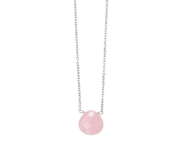 sterling silver rose quartz chalcedony teardrop necklace