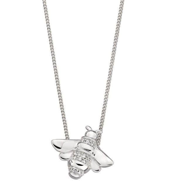 sterling silver pave cubic zirconia bee pendant