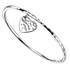 sterling silver hammered bangle with heart tag